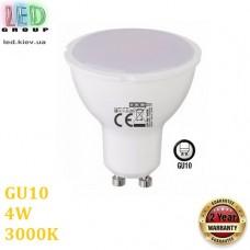 Светодиодная LED лампа 4W, GU10, MR16, 3000K - тёплое свечение, пластик, RA≥80