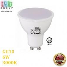 Светодиодная LED лампа 6W, GU10, MR16, 3000K - тёплое свечение, пластик, RA≥80