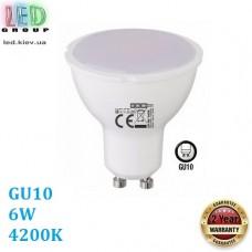 Светодиодная LED лампа 6W, GU10, MR16, 4200K - нейтральное свечение, пластик, RA≥80