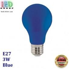 Светодиодная LED лампа 3W, E27, A60, цвет свечения - синий, пластик