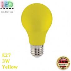 Светодиодная LED лампа 3W, E27, A60, цвет свечения - жёлтый, пластик