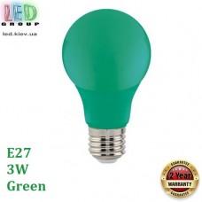 Светодиодная LED лампа 3W, E27, A60, цвет свечения - зелёный, пластик
