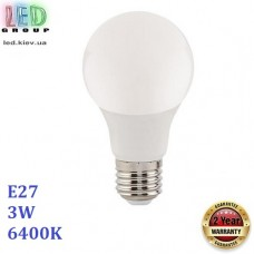 Светодиодная LED лампа 3W, E27, A60, 6400К - холодное свечение, пластик, RA≥80