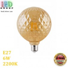"""Светодиодная LED лампа 6W, E27, 2200K - тёплое свечение, филамент, """"твист"""", стекло, amber, RA≥70"""