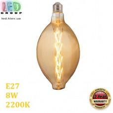 Светодиодная LED лампа 8W, E27, 2200K - тёплое свечение, филамент, стекло, amber, дизайнерская, 185х345мм, RA≥70