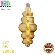 Светодиодная LED лампа 8W, E27, 620Lm, 2200K - тёплое свечение, филамент, стекло, amber, дизайнерская, 120х270мм, RA≥70