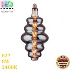 Светодиодная LED лампа 8W, E27, 250Lm, 2400K - тёплое свечение, филамент, стекло тонированное, дизайнерская, 120х270мм, RA≥70