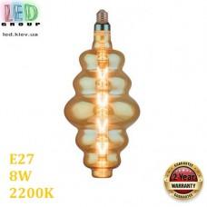 Светодиодная LED лампа 8W, E27, 620Lm, 2200K - тёплое свечение, филамент, стекло, amber, дизайнерская, 180х400мм, RA≥70