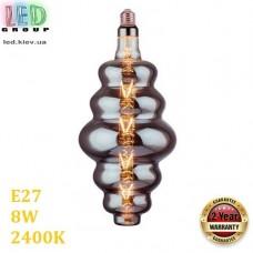 Светодиодная LED лампа 8W, E27, 250Lm, 2400K - тёплое свечение, филамент, стекло тонированное, дизайнерская, 180х400мм, RA≥70