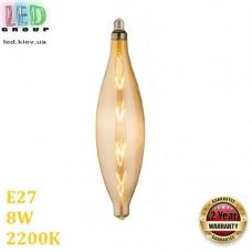 Светодиодная LED лампа 8W, E27, 620Lm, 2200K - тёплое свечение, филамент, стекло, amber, дизайнерская, 95х340мм, RA≥70