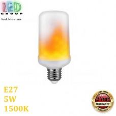 Светодиодная LED лампа 5W, E27, 1500К - тёплое свечение, пластик, декоративная