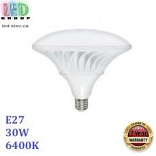 Светодиодная LED лампа 30W, E27, 6400К - холодное свечение, алюминий + пластик, декоративная, RA≥80