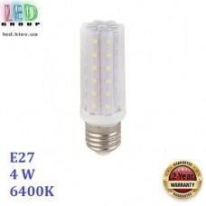 Светодиодная LED лампа 4W, E27, 360Lm, 6400К - холодное свечение, алюминий + пластик, RA≥70