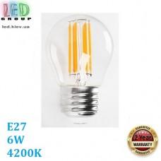 Светодиодная LED лампа 6W, E27, G45, 4200K - нейтральное свечение, филамент, стекло, RA≥80