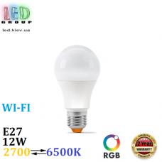 Светодиодная LED лампа 12W, E27, A60, RGB + 2700⇄6500K, SMART, с управлением по Wi-Fi, алюпласт, Ra≥90