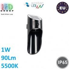 Светодиодный светильник уличный, master LED, 1W, 5500K, IP65, на солнечной батарее с датчиком сумерек, ABS, чёрный. ЕВРОПА!