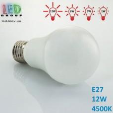 Светодиодная LED лампа, 12W, E27, диммируемая 10%/25%/50%/100%, RA≥80