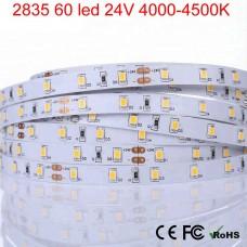 Светодиодная лента 24V, 2835, 60 led/m, 4.8W, IP20, 480Lm, 4500K - белый нейтральный, Standart