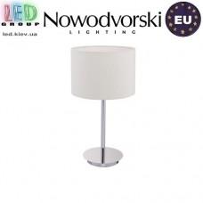 Настольная лампа/корпус Nowodvorski HOTEL 8982, 1xE27, сталь + текстиль, белая. ЕВРОПА!