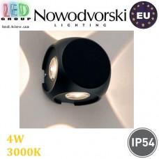 Настенный светодиодный светильник, Nowodvorski PATRAS LED 9115, 4х1W, 3000K, IP54, RA≥80, накладной, алюминий, чёрный. ЕВРОПА!