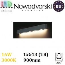 Настенный светодиодный светильник, Nowodvorski STRAIGHT WALL LED GRAPHITE M 9617, 16W, 3000K, накладной, линейный, 900мм, цвета графит, стальной, лампа в комплекте. ЕВРОПА!!!