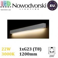 Настенный светодиодный светильник, Nowodvorski STRAIGHT WALL LED SILVER L 9615, 22W, 3000K, накладной, линейный, 1200мм, серебристый, стальной, лампа в комплекте. ЕВРОПА!!!