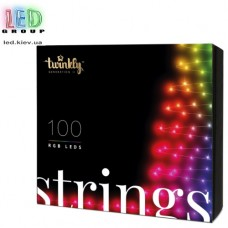 Светодиодная LED гирлянда Twinkly Strings, SMART, RGB, 100 led, Bluetooth + WiFi, Gen II, IP44, кабель чёрный