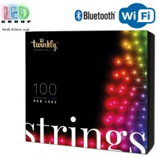 Светодиодная LED гирлянда Twinkly Strings, 11.5/8м, SMART, RGB, 100 led, Bluetooth + WiFi, Gen II, IP44, кабель чёрный