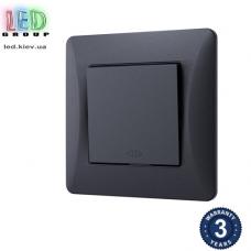 Выключатель одноклавишный, промежуточный, чёрный графит