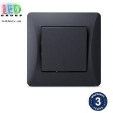 Выключатель одноклавишный, проходной, чёрный графит