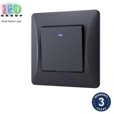 Выключатель одноклавишный, с подсветкой, чёрный графит