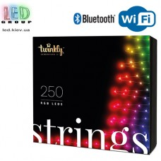 Светодиодная LED гирлянда Twinkly Strings, 23.5/20м, SMART, RGB, 250 led, Bluetooth + WiFi, Gen II, IP44, кабель чёрный