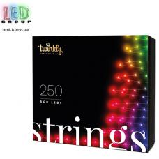 Светодиодная LED гирлянда Twinkly Strings, SMART, RGB, 250 led, Bluetooth + WiFi, Gen II, IP44, кабель чёрный