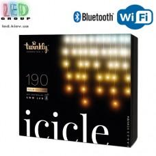 Светодиодная LED гирлянда Twinkly Icicle, 5.5/3.8м, SMART, AWW - оттенки белого, 190 led, Bluetooth + WiFi, Gen II, IP44, кабель прозрачный
