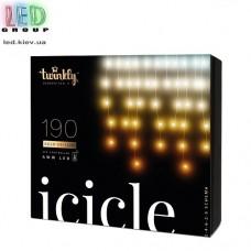 Светодиодная LED гирлянда Twinkly Icicle, SMART, AWW, 190 led, Bluetooth + WiFi, Gen II, IP44, кабель прозрачный