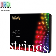 Светодиодная LED гирлянда Twinkly Strings, SMART, RGB, 400 led, Bluetooth + WiFi, Gen II, IP44, кабель чёрный