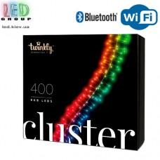 Светодиодная LED гирлянда Twinkly Cluster, 9.5/6м, SMART, RGB, 400 led, Bluetooth + WiFi, Gen II, IP44, кабель чёрный