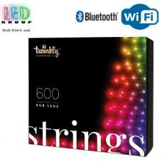 Светодиодная LED гирлянда Twinkly Strings, 51.5/48м, SMART, RGB, 600 led, Bluetooth + WiFi, Gen II, IP44, кабель чёрный