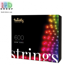 Светодиодная LED гирлянда Twinkly Strings, SMART, RGB, 600 led, Bluetooth + WiFi, Gen II, IP44, кабель чёрный