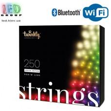 Светодиодная LED гирлянда Twinkly Strings, 23.5/20м, SMART, RGBW, 250 led, Bluetooth + WiFi, Gen II, IP44, кабель чёрный