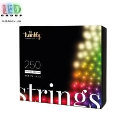Светодиодная LED гирлянда Twinkly Strings, SMART, RGBW, 250 led, Bluetooth + WiFi, Gen II, IP44, кабель чёрный