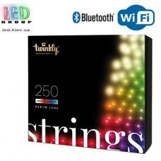 Светодиодная LED гирлянда Twinkly Strings, 23.5/20м, SMART, RGBW, 250 led, Bluetooth + WiFi, Gen II, IP44, кабель прозрачный