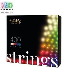 Светодиодная LED гирлянда Twinkly Strings, SMART, RGBW, 400 led, Bluetooth + WiFi, Gen II, IP44, кабель чёрный