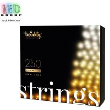 Светодиодная LED гирлянда Twinkly Strings, SMART, AWW, 250 led, Bluetooth + WiFi, Gen II, IP44, кабель чёрный