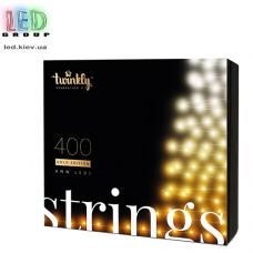 Светодиодная LED гирлянда Twinkly Strings, SMART, AWW, 400 led, Bluetooth + WiFi, Gen II, IP44, кабель чёрный