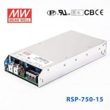 Блок питания 12V, 62.5A, 750W, Mean Well, RSP-750-12, металлический корпус, IP20, для внутреннего применения. Гарантия - 2 года.