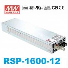 Блок питания 12V, 125A, 1500W, Mean Well, RSP-1600-12, металлический корпус, IP20, для внутреннего применения. Гарантия - 2 года.