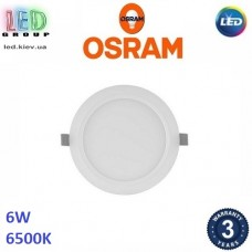 Светодиодный LED светильник Osram, 6W, 6500K, Ø118мм, потолочный, врезной, круглый, белый, DOWNLIGHT, Slim, Ra≥80. Гарантия - 3 года