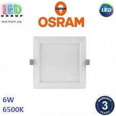 Светодиодный LED светильник Osram, 6W, 6500K, 118х118мм, потолочный, врезной, квадратный, белый, DOWNLIGHT, Slim, Ra≥80. Гарантия - 3 года