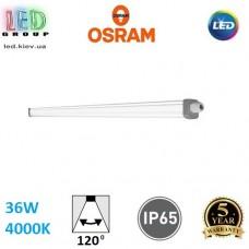Светодиодный LED светильник Osram, 36W, 4000K, 1200мм, 120º, IP65, промышленный, накладной/подвесной, белый, пластик, Ledvance, DAMP PROOF SLIM VALUE, Ra≥80. Гарантия - 3 года